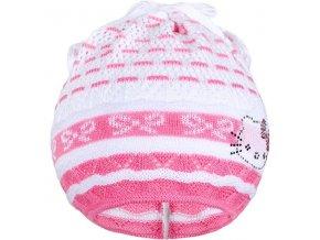 Pletená čepička-šátek New Baby kočička růžová, vel. 104 (3-4r)