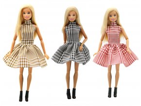 1 pc Handmade fashion clothes For Barbie Doll 3 color Plaid skirt dress baby girl birthday 1