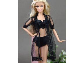Doll Accessories Black Sexy Pajamas Lingerie Nightwear Lace Long Coat Night Wear Bra Underwear Clothes For 1