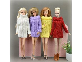 Pure Manual Doll Accessories Knitted Handmade Sweater Tops Coat Dress Clothes For Barbie Doll Gifts For 1