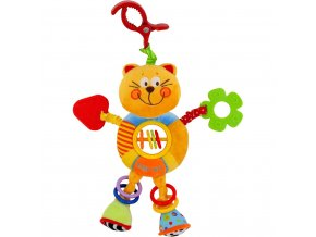 Dětská plyšová hračka s chrastítkem Baby Mix kočička