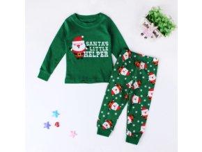 Christmas Kids Pajamas Girls Boys Nightgown Baby Pijamas Santa Claus Costume Cotton Children Clothing Sleepwear 2 Green