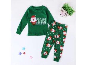Christmas Kids Pajamas Girls Boys Nightgown Baby Pijamas Santa Claus Costume Cotton Children Clothing Sleepwear 2 Green