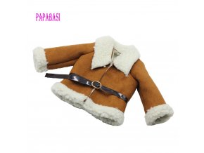 Fashion Brown Dolls Clothes Woolen coat Belt for 18 45CM American Girl Doll Coat as for 1