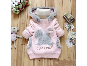YMLBID 2017 Baby girls Coat Kids Warm Winter Outerwear Children Hoodies Jacket bunny sweater Pink Gray 1