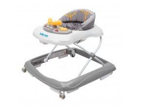 Dětské chodítko Baby Mix s volantem a silikonovými kolečky šedá