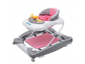 Dětské chodítko s houpačkou a silikonovými kolečky Baby Mix růžové