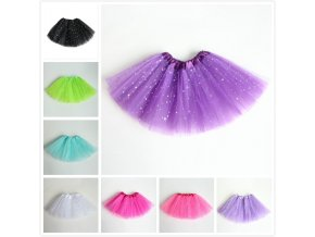 AZULARILLOJO Kids Baby Star Glitter Dance Tutu Skirt For Girl Sequin 3 Layers Tulle Toddler Pettiskirt 4