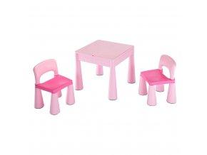 Dětská sada stoleček a dvě židličky NEW BABY růžová