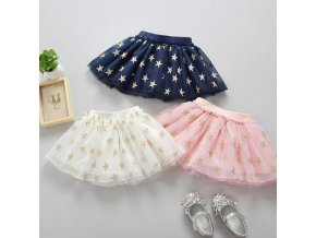 2018 Fashion Cute Baby Girls Summer Tutu Skirts Star Print Mesh Princess Girls Ballet Dancing Party 1