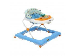 Dětské chodítko Baby Mix s volantem a silikonovými kolečky modro-bílé
