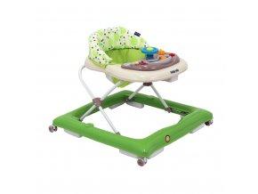 Dětské chodítko Baby Mix s volantem a silikonovými kolečky zeleno-béžové