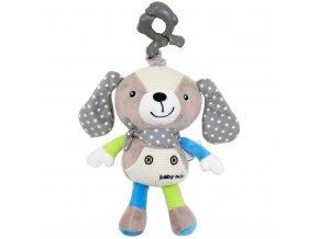 Dětská plyšová hračka s hracím strojkem Baby Mix Pejsek béžový
