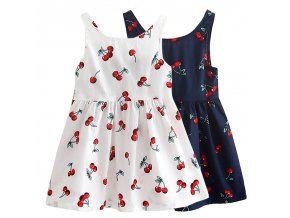 2 7y Girls Clothing Summer Girl Dress Children Kids Cherry Dress Back V Dress Girls Cotton 1