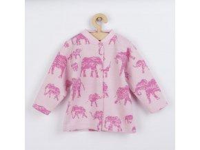 Kojenecký kabátek Baby Service Sloni růžový, vel. 68 (4-6m)