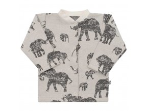 Kojenecký kabátek Baby Service Sloni šedý, vel. 68 (4-6m)