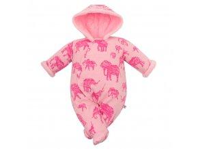 Zimní kojenecká kombinéza s kapucí Baby Service Sloni růžová, vel. 68 (4-6m)