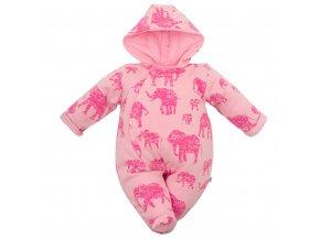 Zateplená kojenecká kombinéza s kapucí Baby Service Sloni růžová, vel. 62 (3-6m)