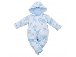 Zateplená kojenecká kombinéza s kapucí Baby Service Sloni modrá, vel. 62 (3-6m)