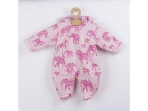 Zateplená kojenecká kombinéza s kapucí Baby Service Sloni růžová, vel. 74 (6-9m)