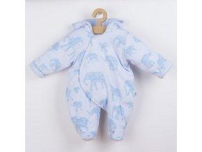 Zateplená kojenecká kombinéza s kapucí Baby Service Sloni modrá, vel. 74 (6-9m)