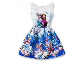 Summer Girls Dress Anna Elsa Dress Party Vestidos Teenagers Butterfly Print Princess Dress for Girls Elza 1