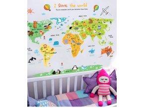 Cartoon zvířecí mapa světa