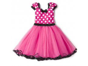 Fancy 1 Year Birthday Party Dress For Halloween Cosplay Minnie Mouse Dress Up Kid Costume Baby Hot Pink (1)