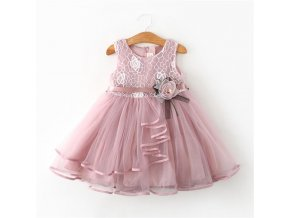 Lace Little Princess Dresses Summer Solid Sleeveless Tulle Tutu Dresses For Girls 2 3 4 5 1