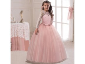 Fancy Flower Long Prom Gowns Teenagers Dresses for Girl Children Party Clothing Kids Evening Formal Dress Pink dress 1