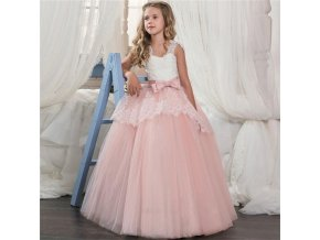 Kids Fancy Girl Flower Petals Dress Children Bridesmaid Outfits Elegant Dress for Girl Vestido Party Prom As picture (1)