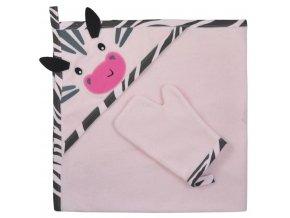Dětská osuška s žínkou Koala Happy Zebra pink