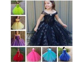 Glittery Girls Tutu Dress Elsa Belle Princess Dress Girls Party Dresses Pageant Gowns Baby Kids COS 6