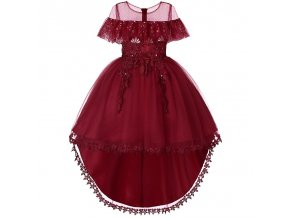 3 12 Years Girl Dress for Wedding Party Sequins Flowers Princess Girls Dresses Summer Girl Tailing red