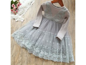 Summer Girl Clothes Cute Children Dresses Kids Daily Clothes For 3 4 5 6 7 Year Gray Full