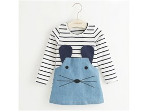 TANGUOANT Striped Patchwork Character Girl Dresses Long Sleeve Cute Mouse Children Clothing Kids Girls Dress Denim long sleeve