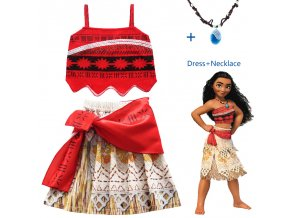2017 Princess Moana Cosplay Costume for Children Vaiana dress Costume with Necklace for Halloween Costumes for dress and necklace (7)