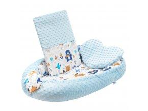 Luxusní hnízdečko s polštářkem a peřinkou New Baby z Minky modré