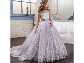 Elegant Princess Dress For Girls Wedding Purple Tulle Lace Long Girl Dress Party Pageant Bridesmaids Formal 2