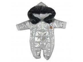 Zimní kojenecká kombinéza s kapucí Koala Lara stříbrná, vel. 74 (6-9m)