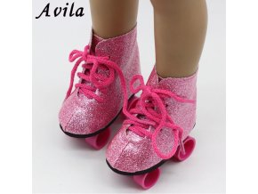New Style Pink Doll Handmade Skate Shoes Fit 43cm Baby Born Doll Clothes 18 Inch American 1