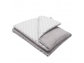 Dětská deka s výplní New Baby Vafle šedá s bílými puntíky 80x102 cm