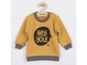 Kojenecké tričko New Baby With Love hořčicové, vel. 68 (4-6m)