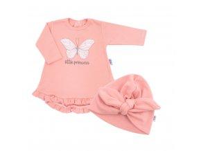 Kojenecké šatičky s čepičkou-turban New Baby Little Princess růžové, vel. 68 (4-6m)