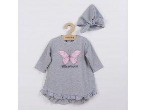 Kojenecké šatičky s čepičkou-turban New Baby Little Princess šedé, vel. 74 (6-9m)