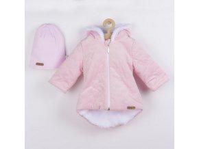 Zimní kojenecký kabátek s čepičkou Nicol Kids Winter růžový, vel. 56 (0-3m)