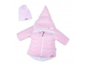 Zimní kojenecký kabátek s čepičkou Nicol Kids Winter růžový, vel. 74 (6-9m)