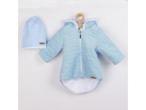 Zimní kojenecký kabátek s čepičkou Nicol Kids Winter modrý, vel. 56 (0-3m)