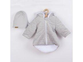 Zimní kojenecký kabátek s čepičkou Nicol Kids Winter šedý, vel. 56 (0-3m)
