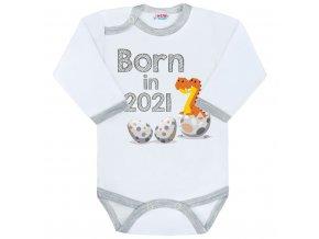 Body s potiskem New Baby Born in 2021 šedo-bílé, vel. 56 (0-3m)